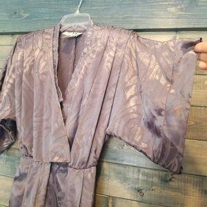 Vintage Pants - 80s Satin Jumpsuit Grey Shoulder pads